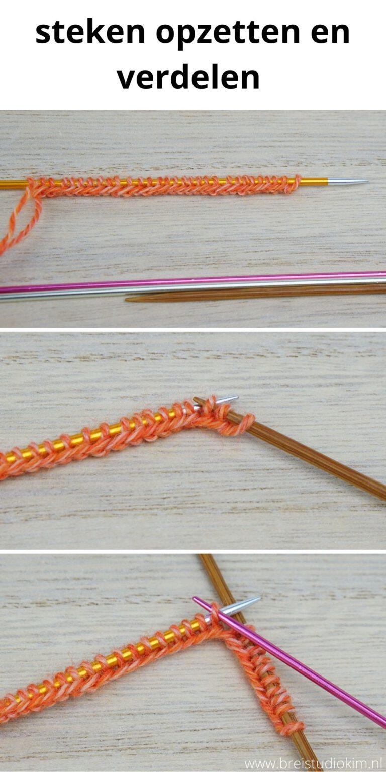 breien met 4 naalden steken opzetten